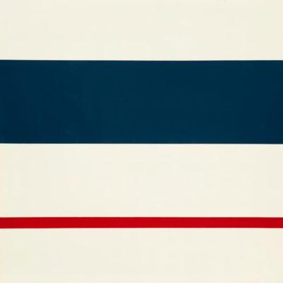 N. 32 Bianco-bleu-rosso. Nitro su metallo cm 100x100. 1973
